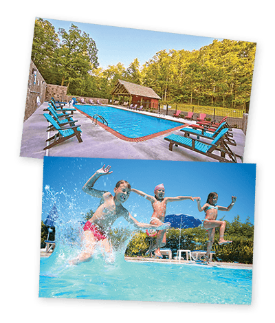 Kids jumping into a swimming pool at a resort in the Smoky Mountains.
