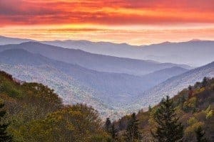 sunset during fall in the Smoky Mountains
