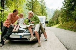 family looking at map during Smoky Mountain vacation