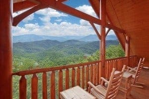 Breathtaking mountain views from the deck of a cabin in Pigeon Forge.