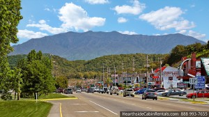 Photo of the downtown Parkway, just minutes away from a secluded Pigeon Forge cabin.