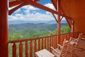 Amazing mountain views from the deck of one of our Smoky Mountain luxury cabins..