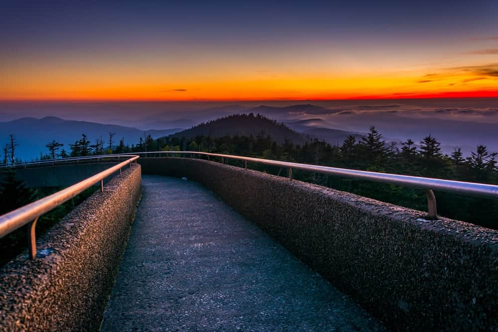 Visiting Clingmans Dome at sunset is one of many Romantic Things to do in Gatlinburg
