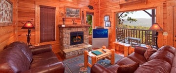The family room of a great cabin in Gatlinburg.