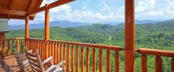 A stunning mountain view from a Gatlinburg cabin rental.