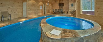 The indoor pool in a Pigeon Forge cabin rental.