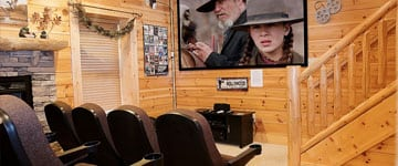 A movie theater inside a large cabin in Pigeon Forge.
