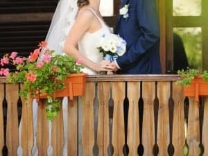 Bride and Groom on Pigeon Forge Cabin deck