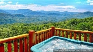 View of Smoky Mountains from Grand View Lodge large group cabins in Gatlinburg TN
