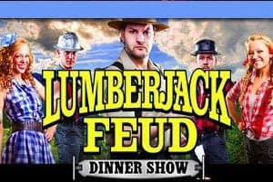 Logo and image of the Lumberjack Feud Dinner Show.