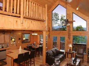 Photo of the living room in the Can't Bear to Leave cabin.