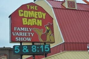 The sign for the Comedy Barn in Pigeon Forge.