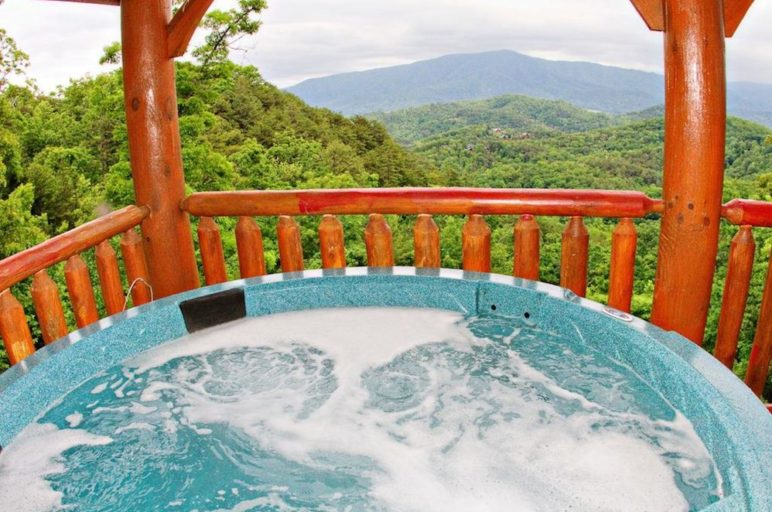 Hot tub on the deck of a cabin in the Smoky Mountains.