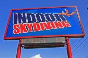 The sign for Flyaway Indoor Skydiving in Pigeon Forge TN.