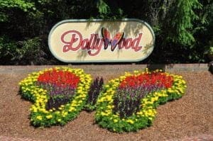 Butterfly flower arrangement at Dollywood.