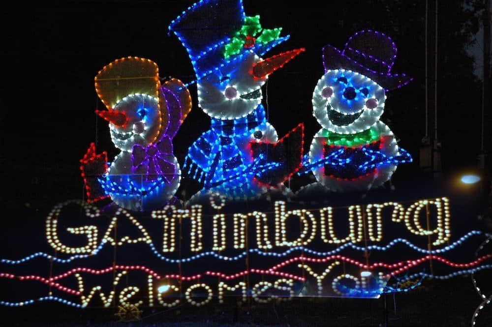 Beautiful Christmas lights in Gatlinburg.