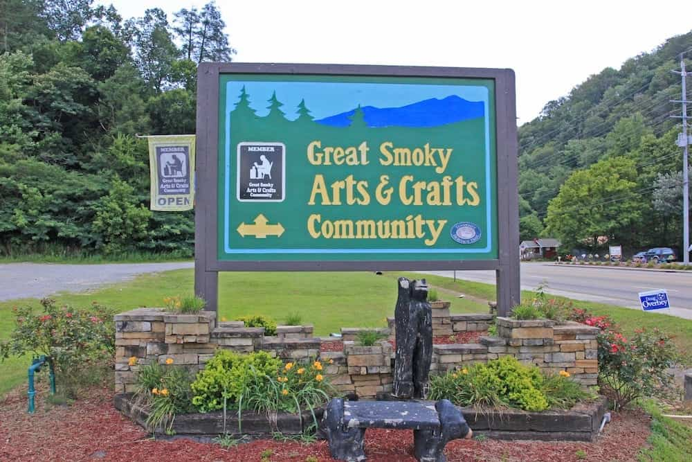 Sign at the entrance to the Great Smoky Arts & Crafts Community.