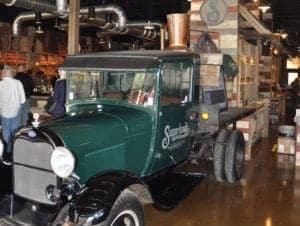 A vintage automobile at the Sugarlands distillery in downtown Gatlinburg.