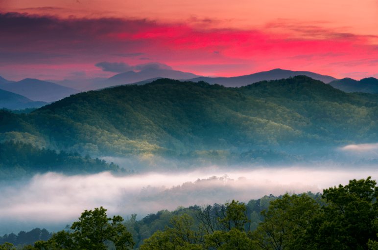 Sunrise in the Smoky Mountains.