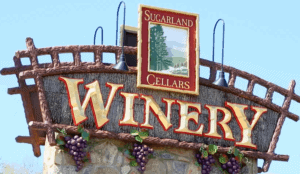 The sign for Sugarland Cellars Winery in Gatlinburg.