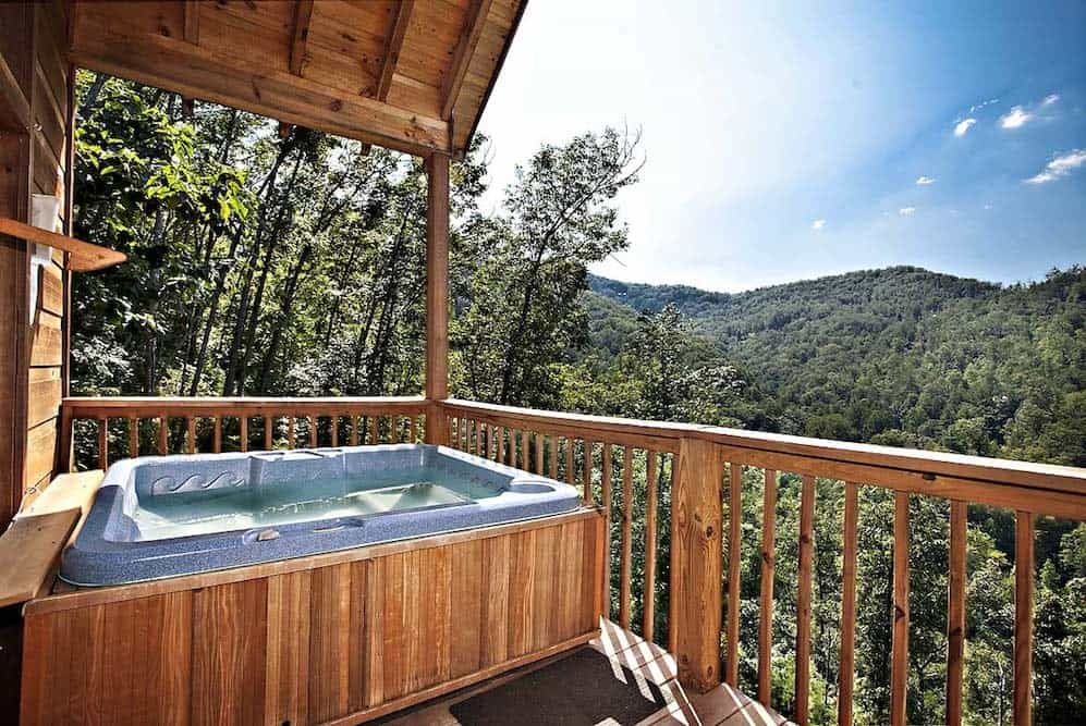 Hot tub on the deck of the Abundant Views cabin.