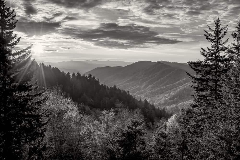 Black and white photo of the Smoky Mountains.