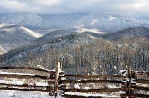 Mountains covered in snow in Gatlinburg.
