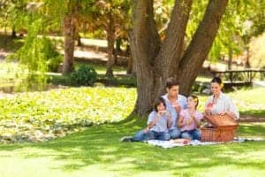 A family enjoying a picnic in a park.