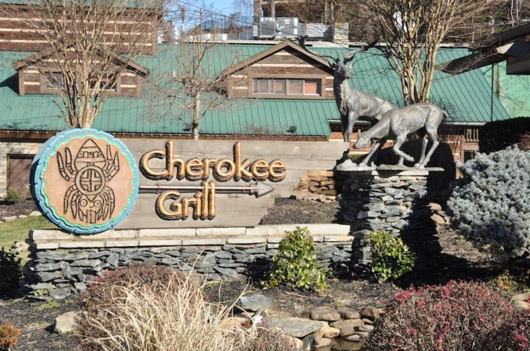 The outside of Cherokee Grill restaurant in Gatlinburg TN.