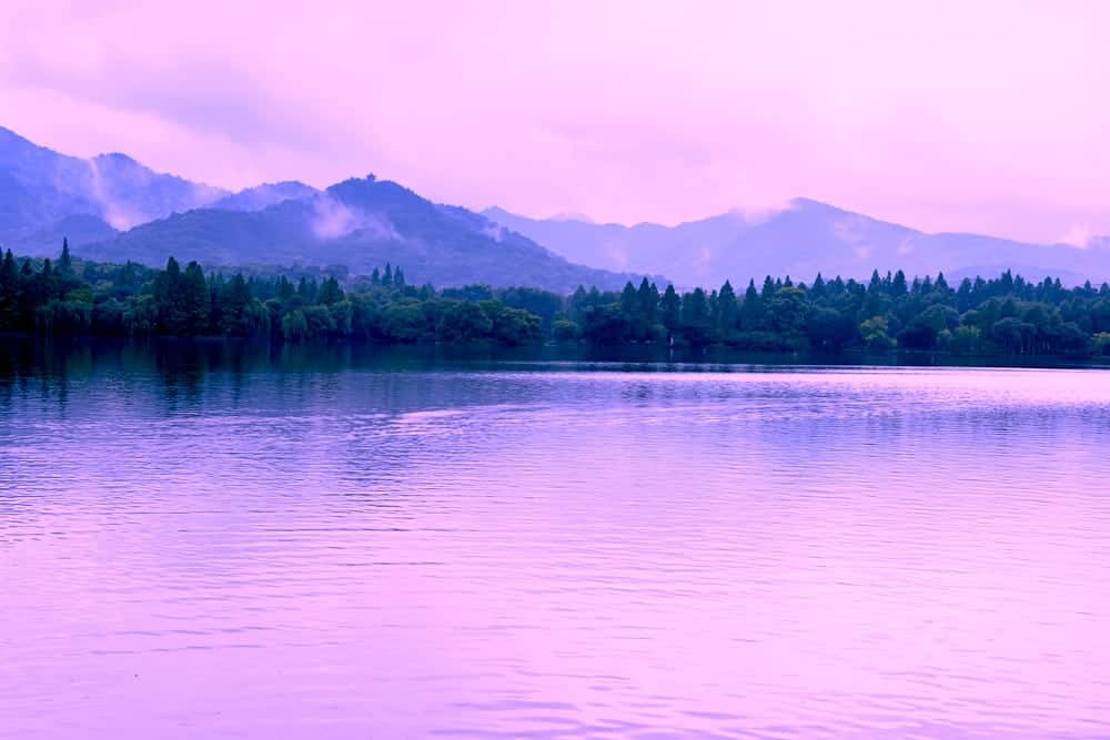 An enchanted lake with violet water.