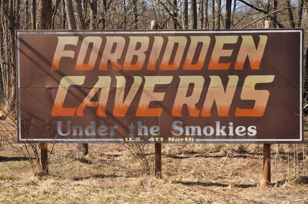 forbidden caverns sign