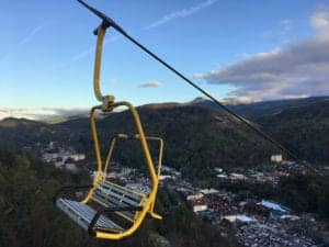 yellow chair on the gatlinburg skylift