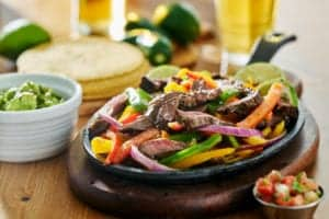 beef fajitas with gaucamole